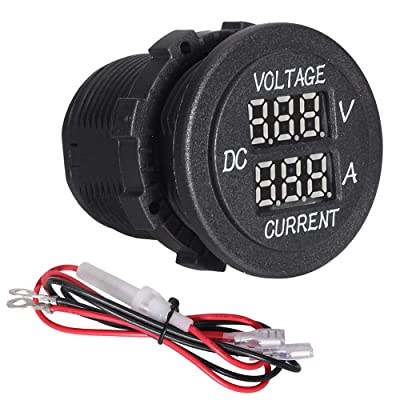 Red Light 2 Pieces DC 12V 24V Waterproof Car Voltmeter with LED Digital Display Panel and Mounting Plate Round Voltage Gauge Meter with Terminals for Boat Marine Vehicle Motorcycle Truck ATV UTV