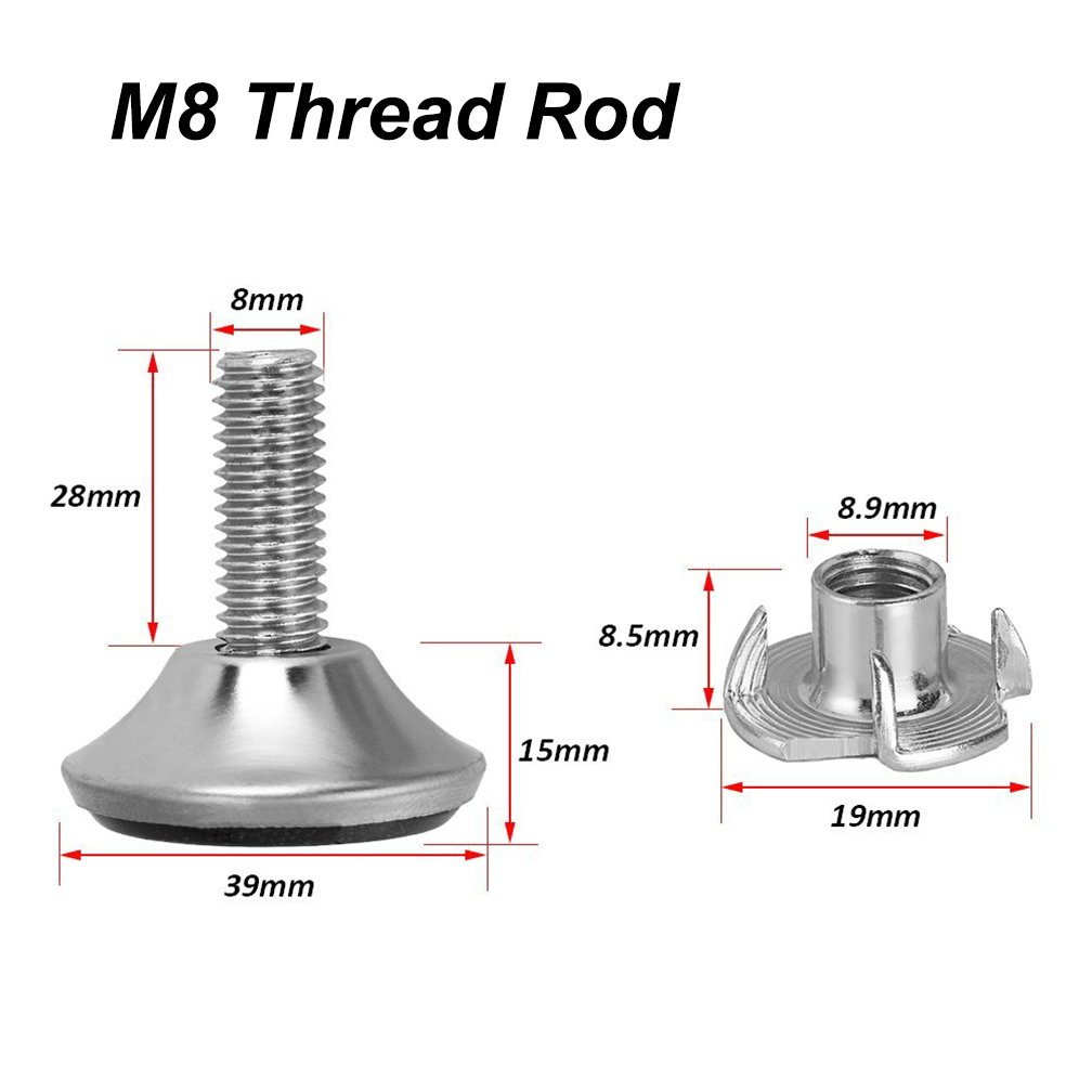 Set of 20 Medium Duty External Thread M8 Furniture Glide Leveling Feet Pronged Adjustable Felt Pads for Table Chair Cabinet Foot Eyech Furniture Levelers with T-Nuts Thread Rod Dia 8mm