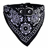 Howstar Pet Neckerchief, Adjustable Puppy Collar Dog Bandana Scarf Doggy Necklace (M, Black)