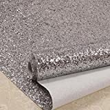 27in by 197in Silver Chunky Glitter Wallpaper , 3D Sparkly Glitter Fabric Wall Paper ,Bling Wallcovering (Silver)