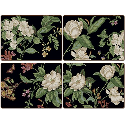 (Cala Home 4 Premium Hardboard Placemats Table Mats, Garden Images Black)