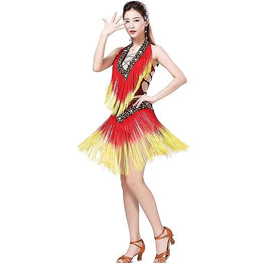 Falda de baile de las mujeres Vestido de baile latino con cuello ...
