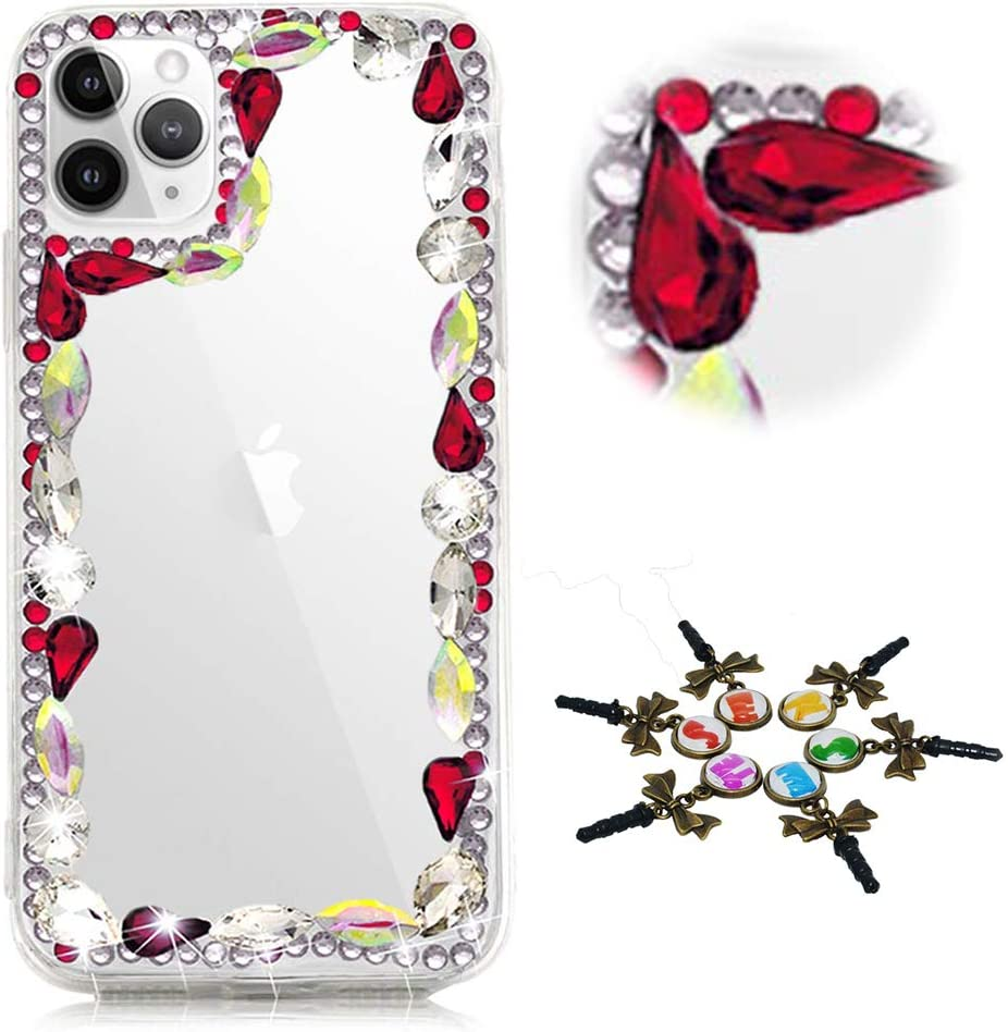 STENES Sparkle Phone Case Compatible with Samsung Galaxy A50 - Stylish - 3D Handmade Bling Rhinestone Frame Rhinestone Crystal Diamond Design Cover Case - Red