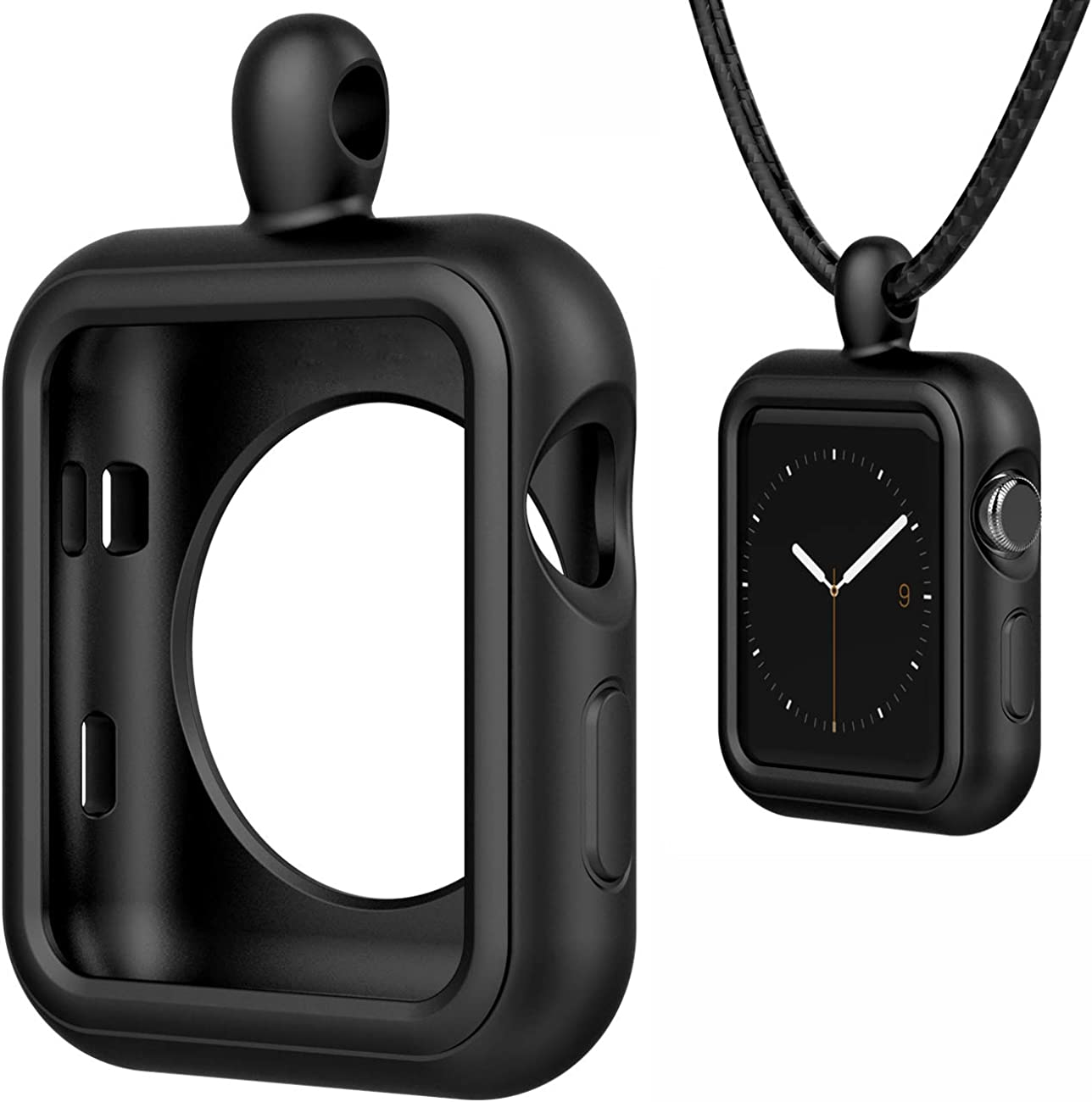 HALLEAST Compatible with for Apple Watch Pendant Necklace, Silicone Case Replacement for iWatch Cover Series 6 5 4 3 2, Black 38mm 40mm 42mm 44mm