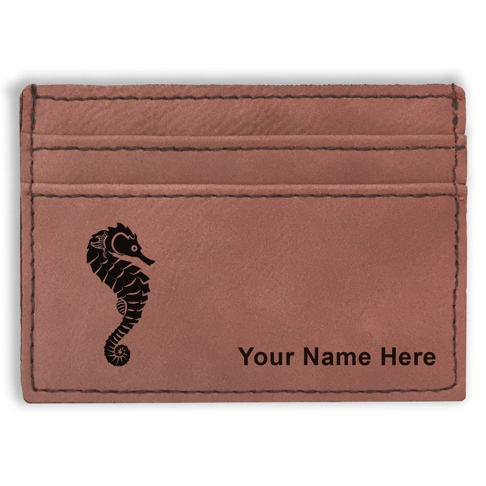 Personalized Engraving Included Money Clip Wallet Seahorse