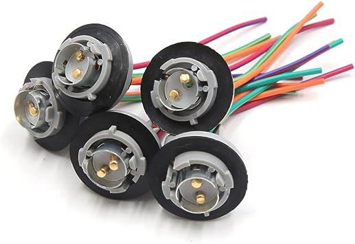 uxcell 5 Pcs 1157 1016 Brake Turn Signal Light Harness Wire LED Lamp Bulb Socket
