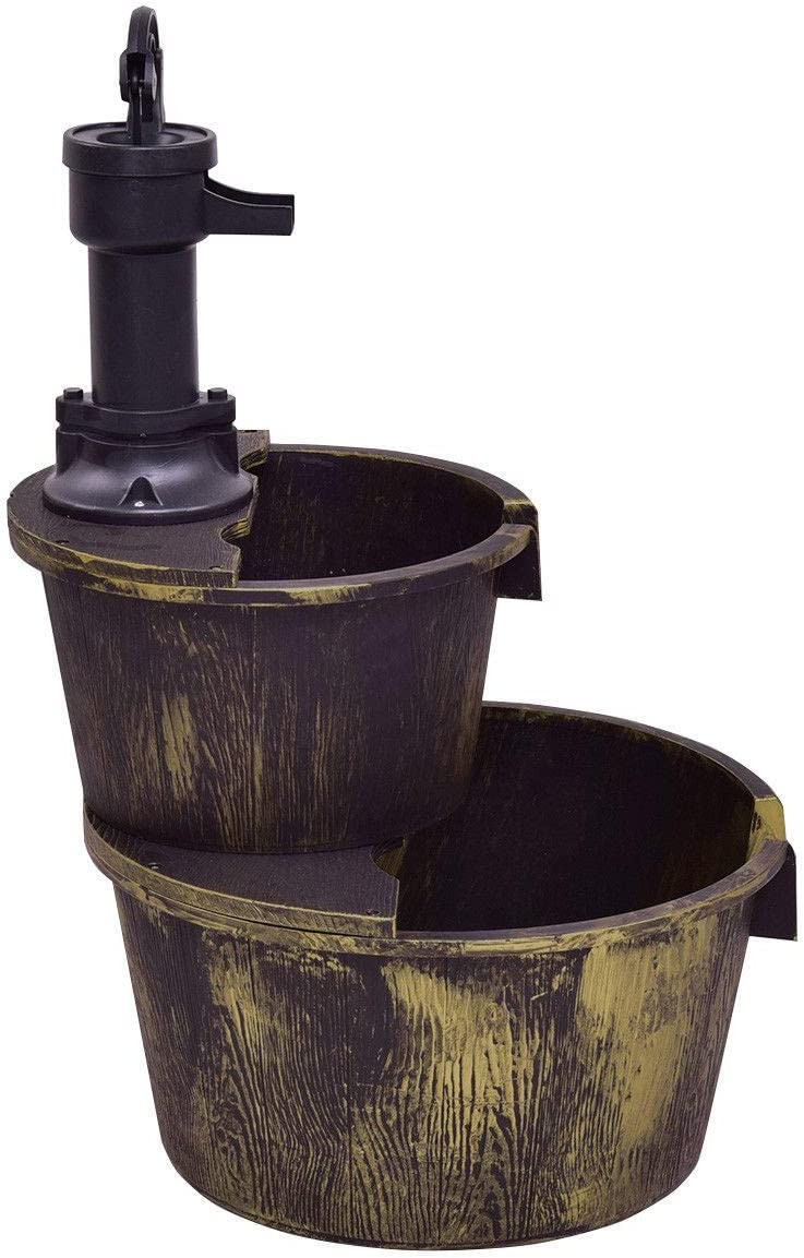 simplyUSAhello 2 Tiers Outdoor Barrel Waterfall Fountain with Pump