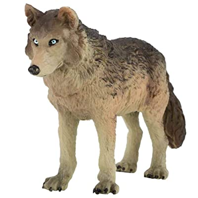 Tnfeeon Wolf Figurine Toy, Simulation Wildlife Animal Model Toy Zoo Animals Model Action Wolf Figures Environmentally Friendly Plastic Mini Decoration for Kids Education Collectibles Gift (Cyan): Toys & Games [5Bkhe0210230]
