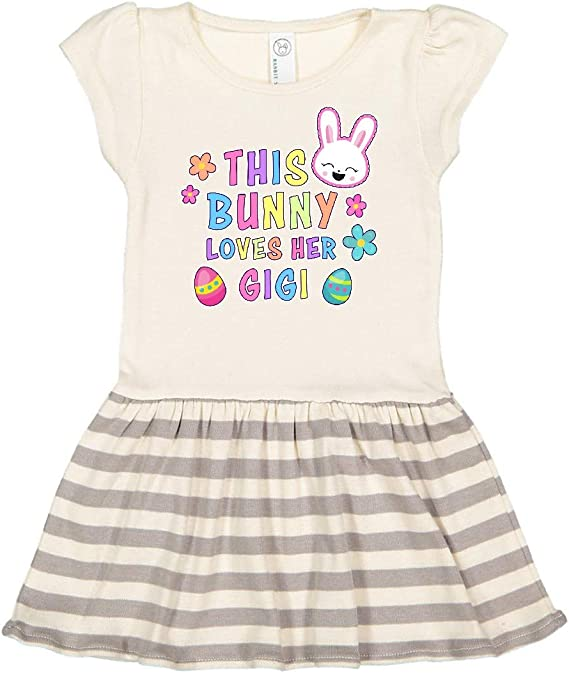 inktastic This Bunny Loves Her Dad with Bunny Face and Flowers Toddler T-Shirt