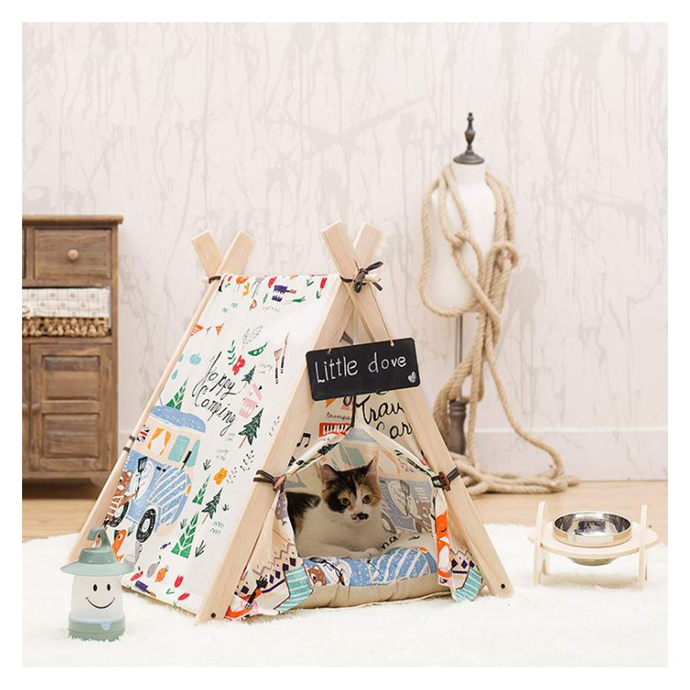 Tent Small Tent Small GDDYQ Pet Tent, Removable and Washable Pet Game House Cat Litter Kennel Cotton Canvas Fashion Cute, A Variety of Options,Tent,S