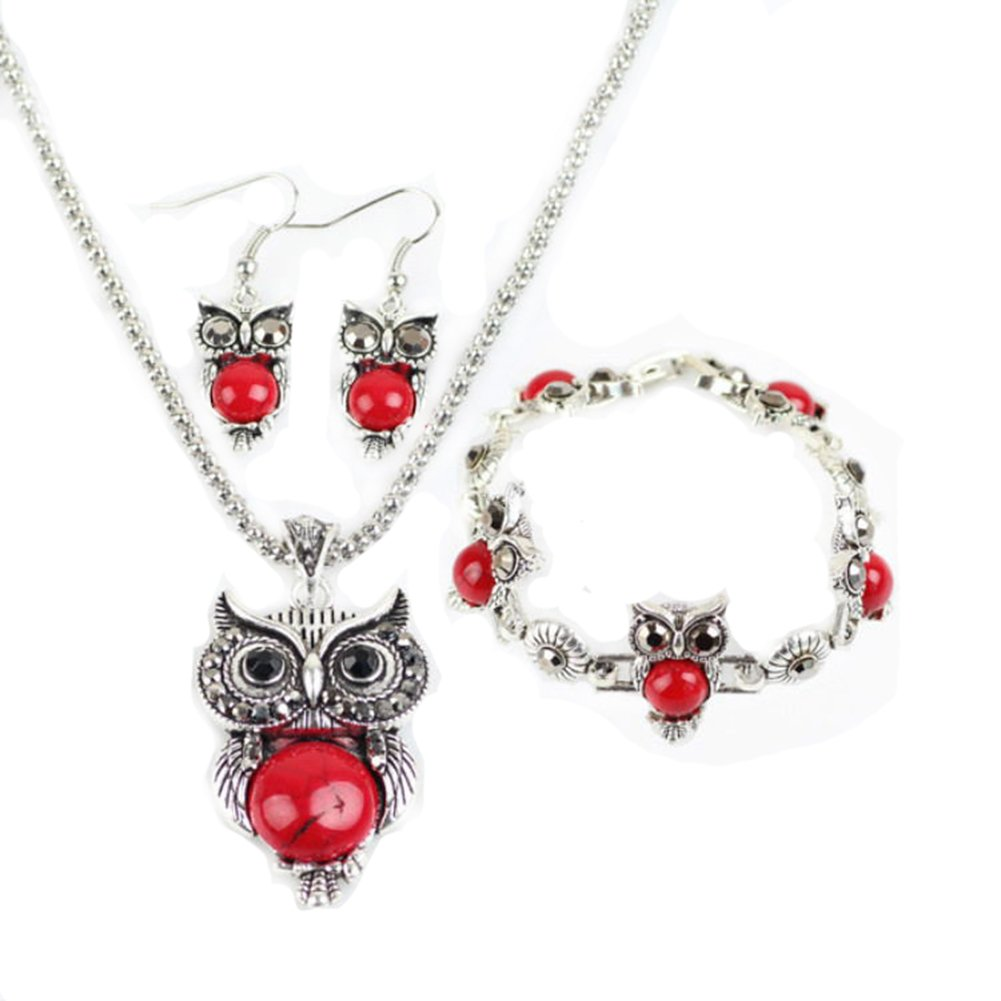 Hosaire Owl Jewelry Sets Retro National Style Owl Turquoise Accessories (Bracelet Necklace Earrings)