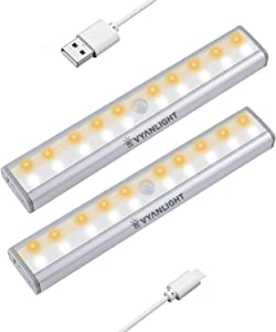 Homelife LED Bars Motion Sensor Lights by VYANLIGHT, Under Cabinet Motion Activated Lights, 20 LED Rechargeable 3-Color Mode Stick-on Anywhere Night Lights for Kitchen, Closets, and Hallways (2 Pack)