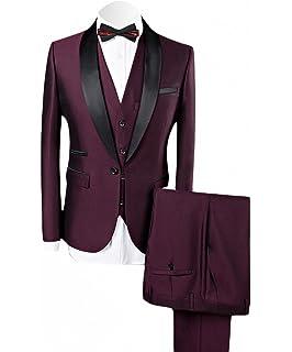 cdf9b0fea37 WEEN CHARM Men's Shawl Lapel 3-Pieces Suit Slim Fit One Button Dress Suit  Blazer