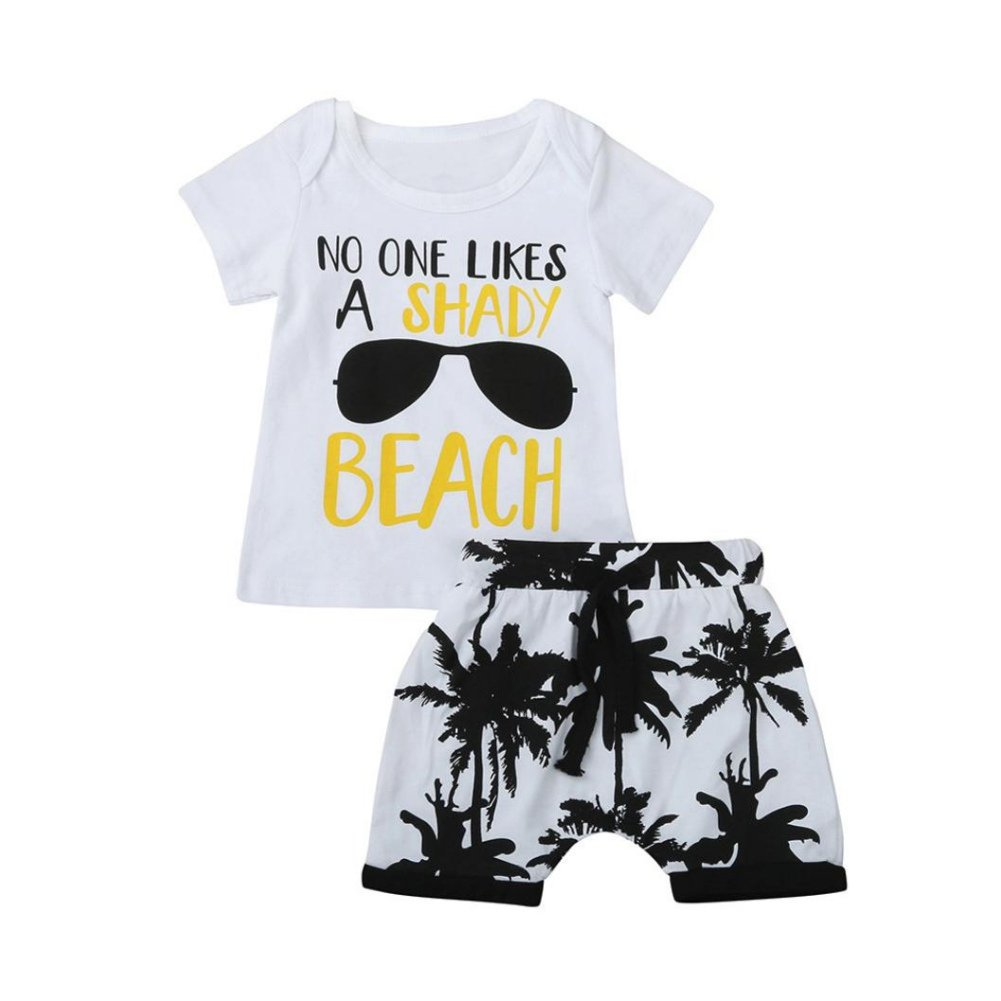 Shiningup Baby Boy Beachwear Causale Allentato in Stile Vacanza Outfit 2 Pezzi Summer Clothing Set Toddler Infant