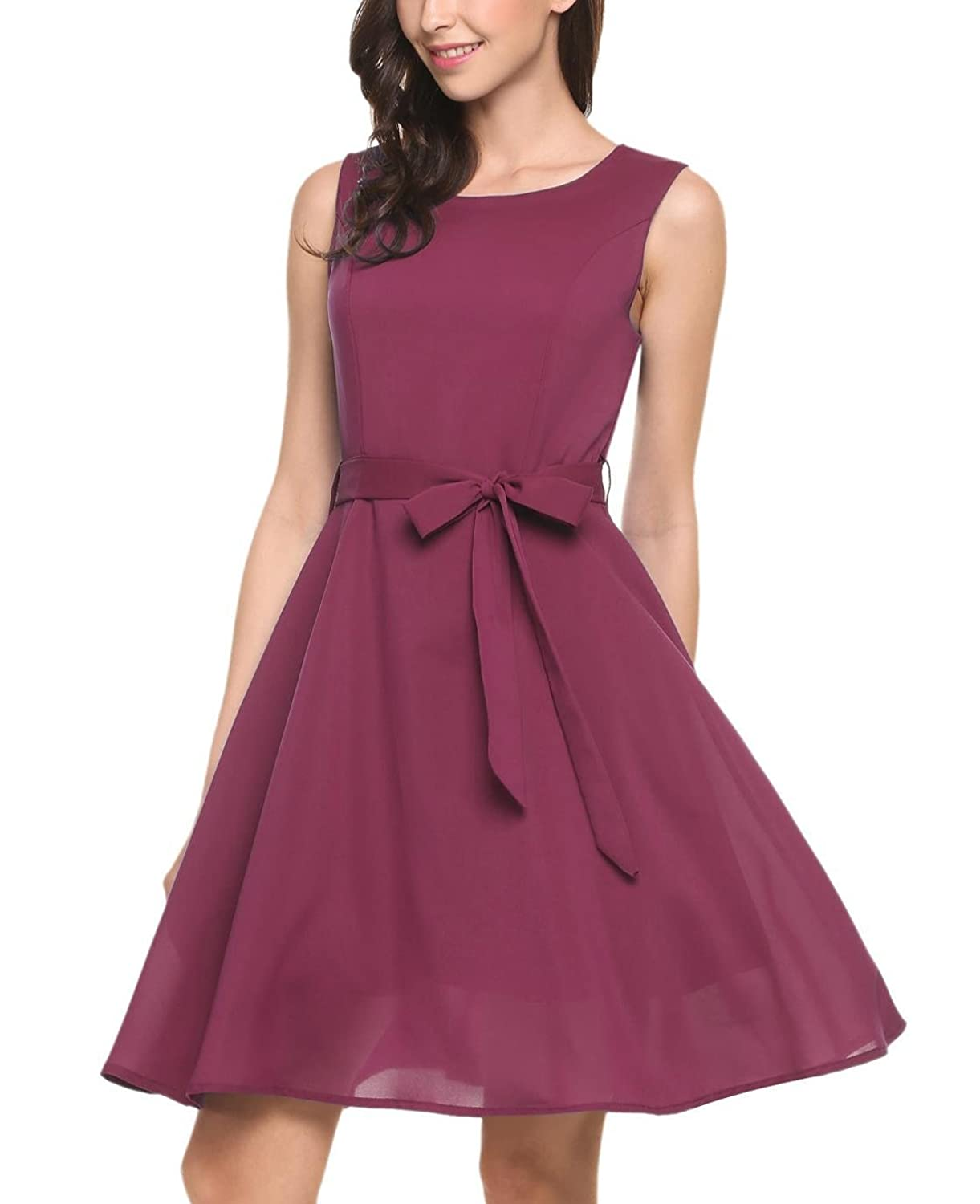 c1ad6ee33dc7 Features: back zipper, waistband decoration, scoop neck, sleeveless, solid  color, you will love this dress. A-line pleated style, sundress, swing dress,  ...