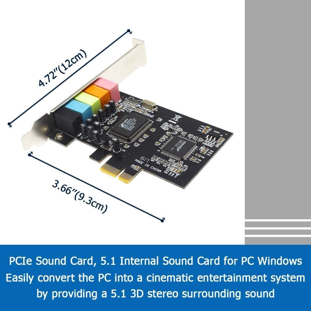 5.1 interne Soundkarte f/ür PC Windows 10 8 7 mit Low-Profile-Halterung 3D Stereo PCI-e Audio Karte CMI8738 Chip 32//64 Bit Soundkarte PCI Express Adapter GODSHARK PCIe Soundkarte