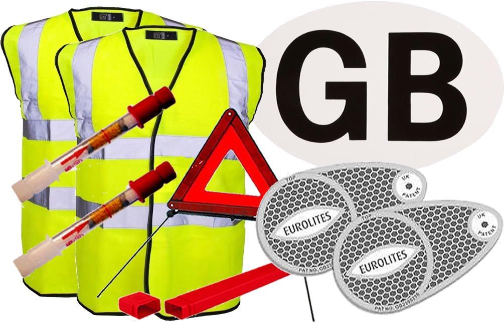 European Travel Kit 2 (2 x Hi-Vis Jacket, Adhesive GB Sticker, Pair of Beam Benders, Warning Triangle, Pair Of Breathalysers) Fastcar