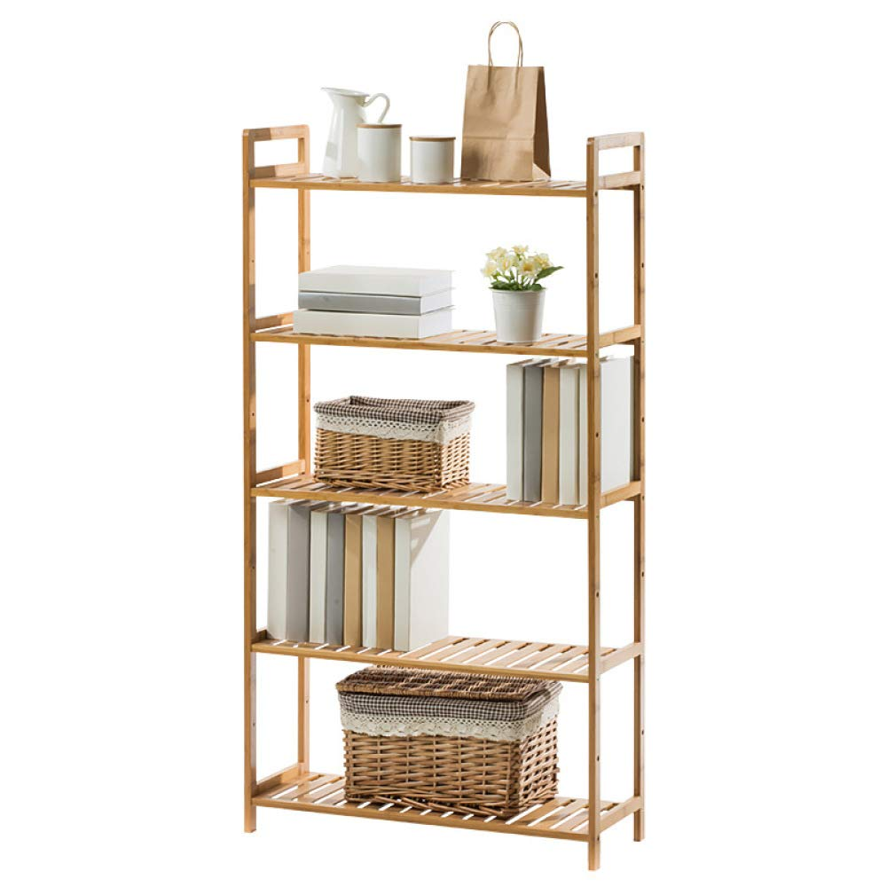 nouler Bookshelf Simple Rack Solid Wood Multi-Storey Floor Dormitory Storage Rack Fashion,Wood Color,M