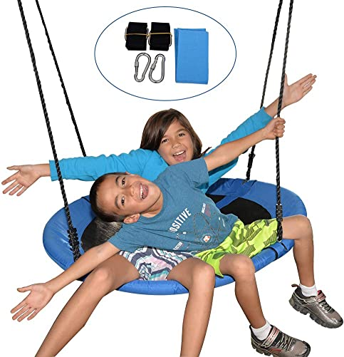 Sundale Outdoor 40 Saucer Chair Tree Swing Waterproof Hammock Seat with 2 Carabiners and 71 Adjustable Ropes, Durable Steel Frame, Easy to Install, 330 lbs Weight Capacity, Fun for Kids, Blue