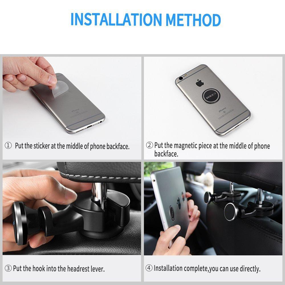 Car vehicle back seat hanger hook for bag Silver Car Headrest Magnetic Mount Lieko Phone Holder Hook Car Backseat Headrest Mount Organizer for Magnetic Phone eReader