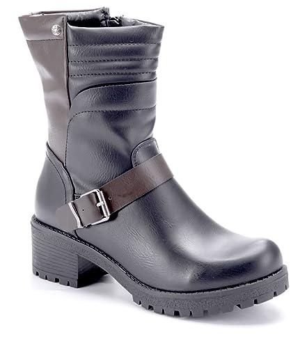 cb2cfcd112a13a Schuhtempel24 Damen Schuhe Boots Stiefel Stiefeletten Blockabsatz Schnalle  5 cm  Amazon.de  Schuhe   Handtaschen