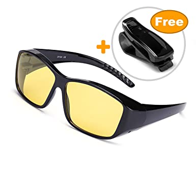 70ac7a4cfd42 IGnaef Wrap Around Night Driving HD Polarized Glasses Fit Over Rectangular  Glasses with Clip Holder (