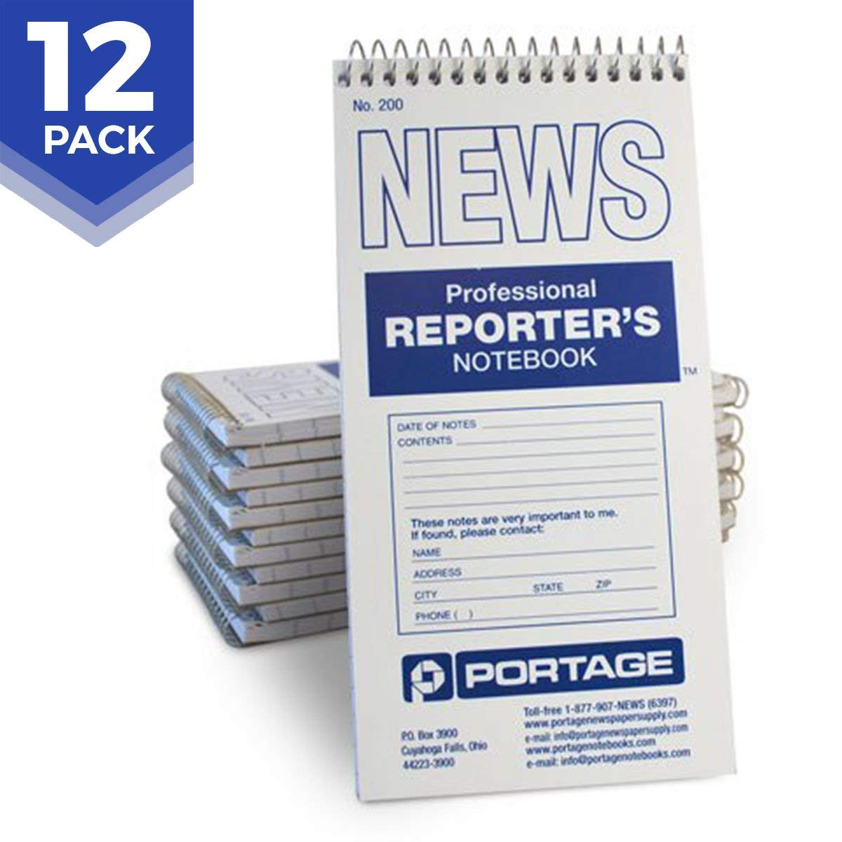 """Portage Reporter's Notebook – #200 Gregg Ruled 4"""" x 8"""" Professional Spiral Notebook for Taking Notes in the Field - 140 Pages (12 Pack)"""