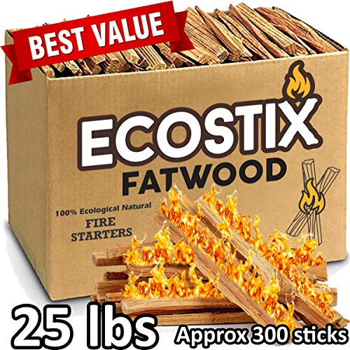 Wood Starter - EasyGoProducts Approx. 300 Eco-Stix Fatwood Fire Starter Kindling Firewood Sticks Wood Stoves, 25 lbs