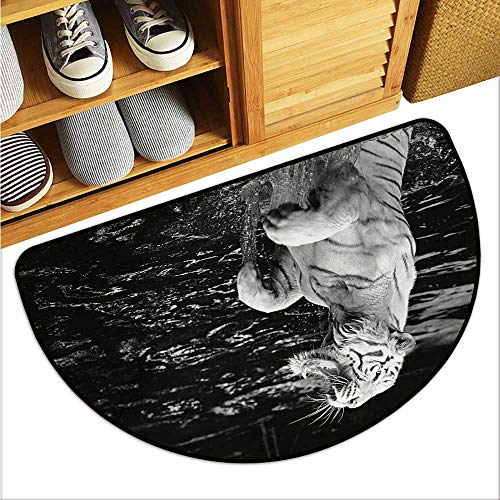 (warmfamily Safari Thin Door mat White Tiger Wintertime Rare Animal Portrait Eyes Wildlife Environment Environmental Protection W31 x L19 Charcoal Grey Pale Grey)