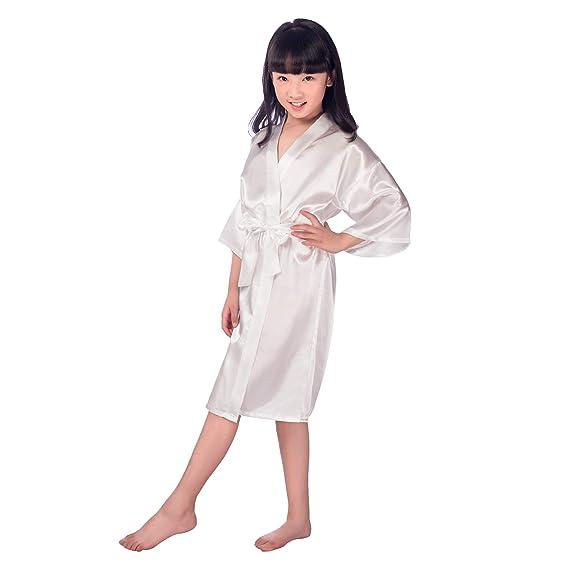 Yying Girl Satin Kimono Robe Fashion Bathrobe Silk Nightgown for SPA Party Wedding Birthday Gift: Amazon.es: Ropa y accesorios