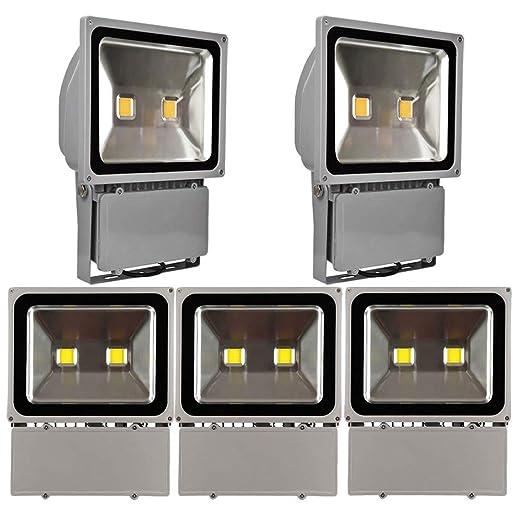 Leetop 5X 100W Blanco Frio Impermeable IP65 Reflector de Seguridad ...