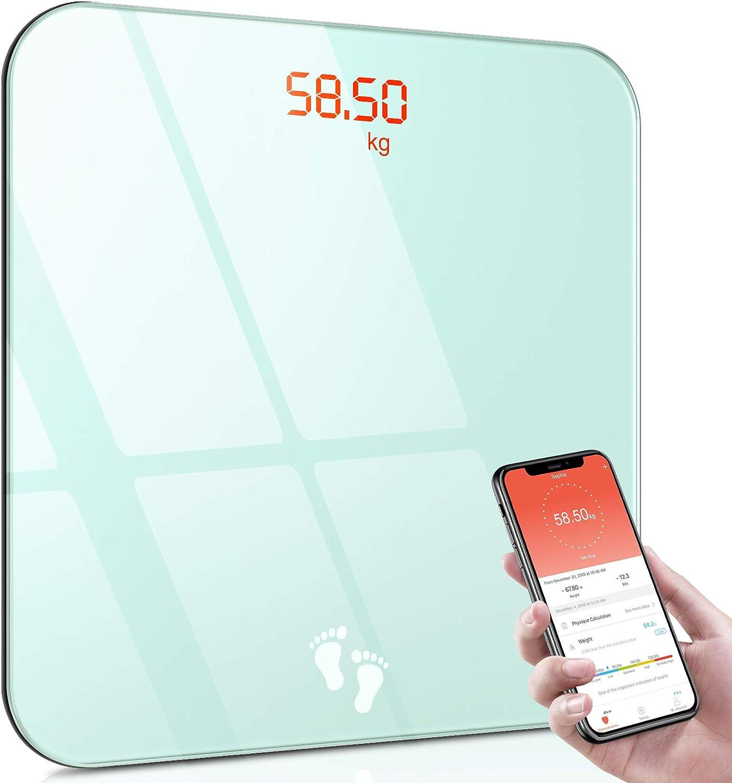 Cocoda Bascula de Baño, Báscula Digital Corporal Bluetooth con APP para Andriod/iOS & Pantalla LED Fácil Leer, BMI Balanza Electronica, Peso Baño Step-on con Vidrio Templado Resistente (180kg)