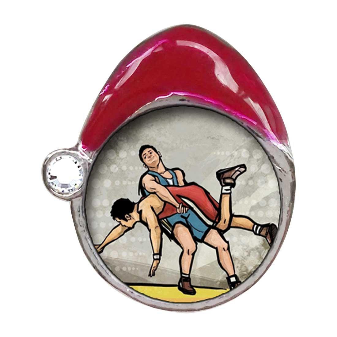 Olympics Wrestling White Crystal April Birthstone Red Santa Hat Charm Bracelets