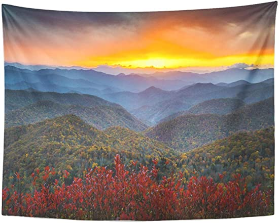 Emvency Wall Tapestry Red Fall Blue Ridge Parkway Autumn Appalachian Mountains Sunset Western Nc Scenic Landscape Vacation Destination Orange Decor Wall Hanging Picnic Bedsheet Blanket 80×60 Inches