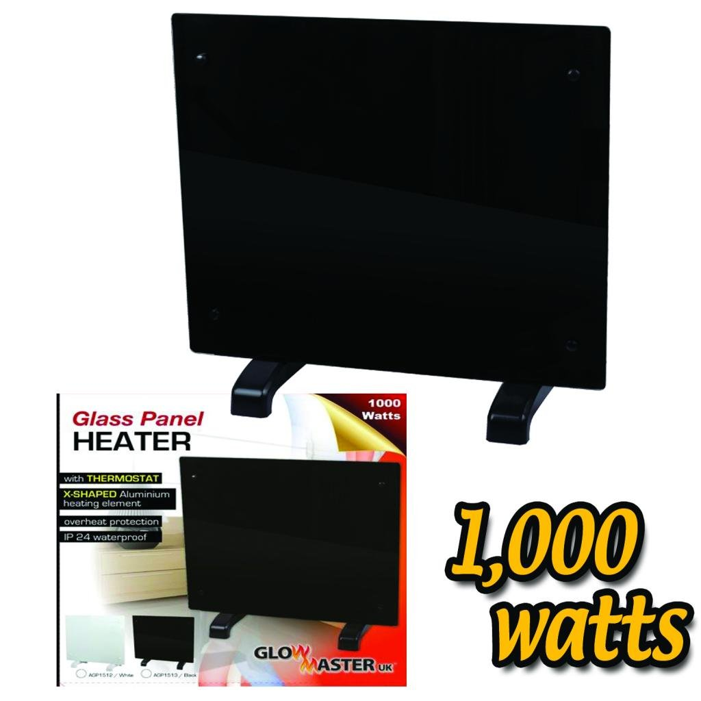 1000w GLOWMASTER BLACK GLASS FREE STANDING WALL MOUNTED PORTABLE ELECTRIC  PANEL HEATER. Electric Panel Heater Radiator Glass Black Portable Free Standing