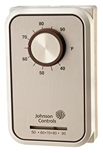 Johnson Controls T26S-18C Line Voltage Wall Thermostat, Heating and Cooling, Single-Pole, Double-Throw, 40-90 Degree F Temperature Range