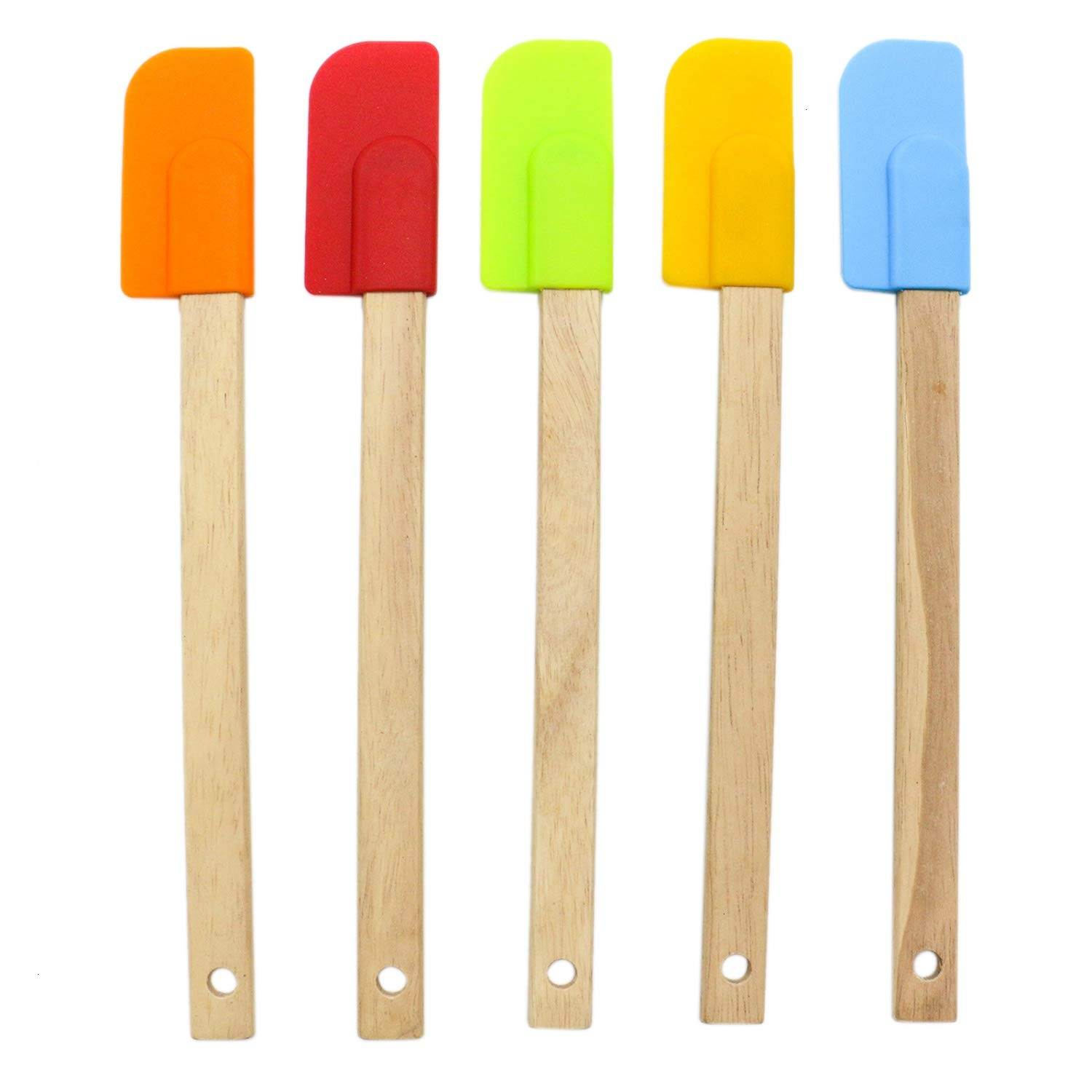 HUELE 5 Pcs Silicone Heat Resistant Spatulas Scraper with Wood Handle for Baking Cooking