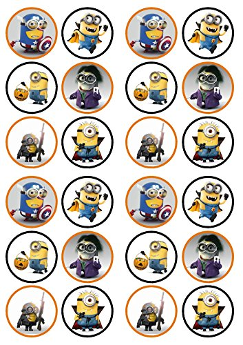 Halloween Minions Edible PREMIUM THICKNESS SWEETENED VANILLA, Wafer Rice Paper Cupcake -