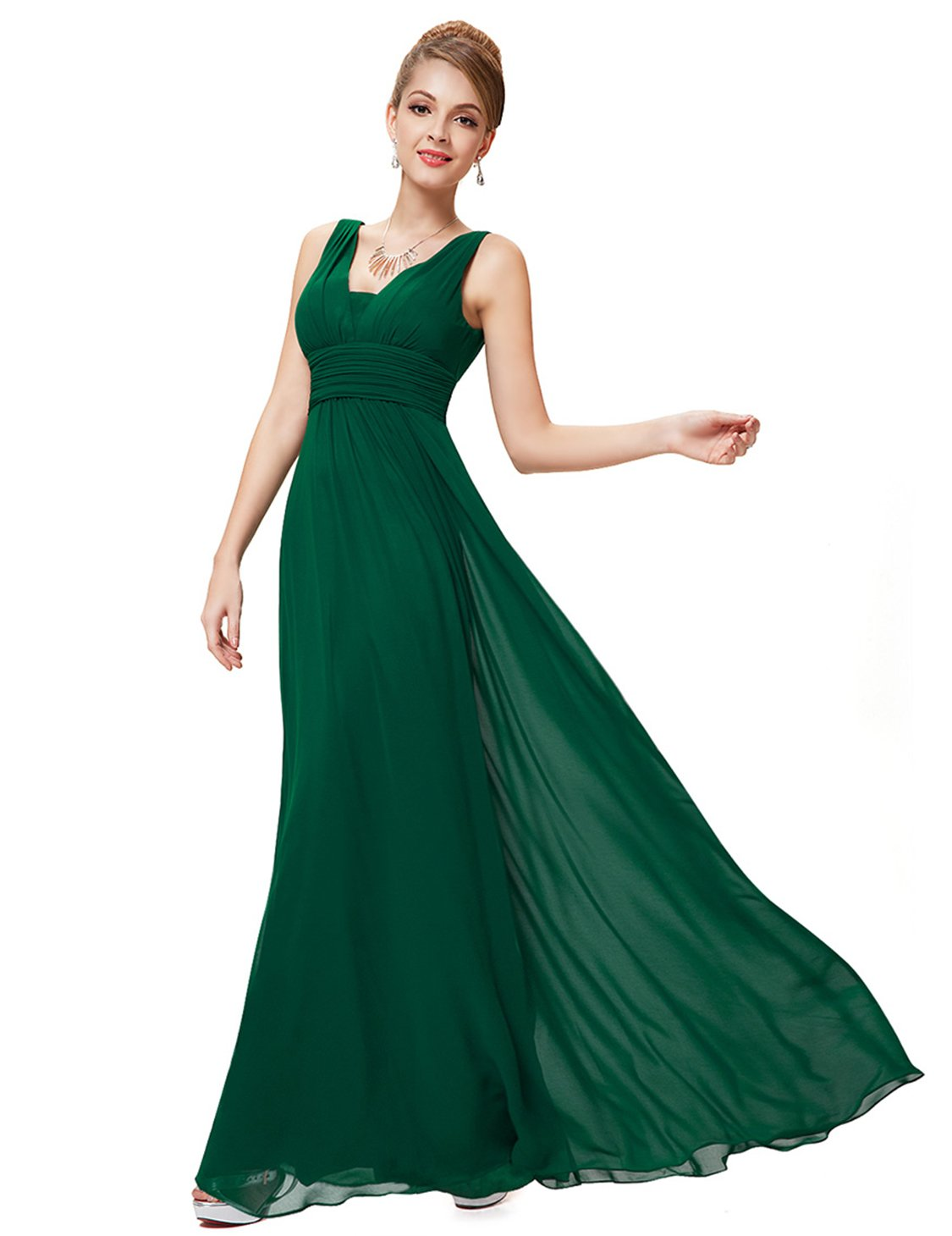 Ever-Pretty Long Summer Ruffles Sexy Dresses for Juniors 6US Green