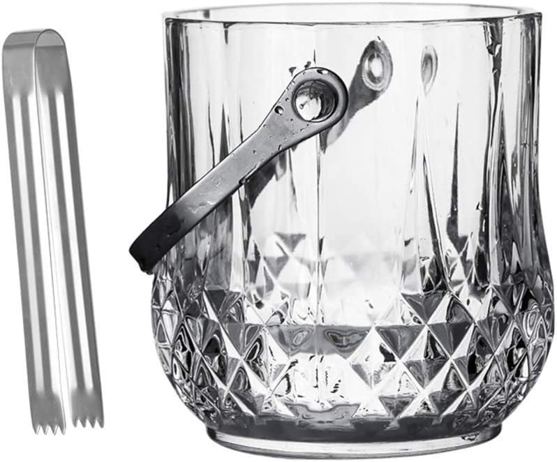 WYMESW Glass Ice Bucket Wine Cooler,Champagne Wine Bucket,Insulation Ice Bucket Ice Tongs,Elegant Crystal Beverage Tub for Parties Bar-a 12x13x10cm(5x5x4inch)