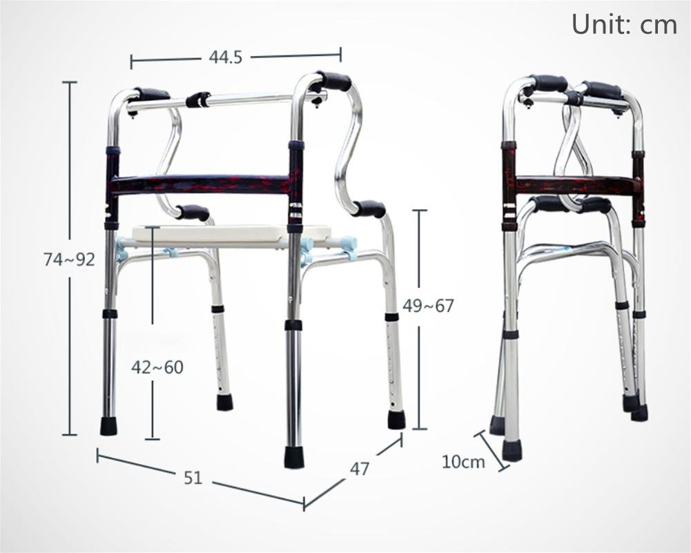 LUCKYYAN Drive Healthcare YC8209 Thickened aluminum alloy Folding Walking Frame with Rear Wheels , a by LUCKYYAN (Image #2)