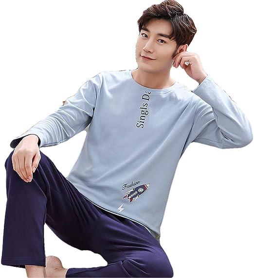 Pijama para hombre, conjunto de ropa de dormir de algodón para ...