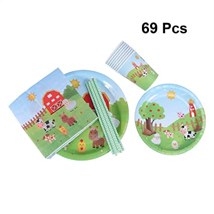 Nuobesty - Juego de 69 platos desechables de papel para ...