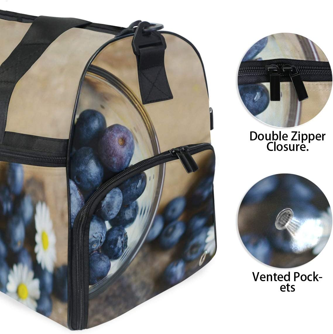 FAJRO Gym Bag Travel Duffel Express Weekender Bag Blueberry And Daisy Carry On Luggage with Shoe Pouch