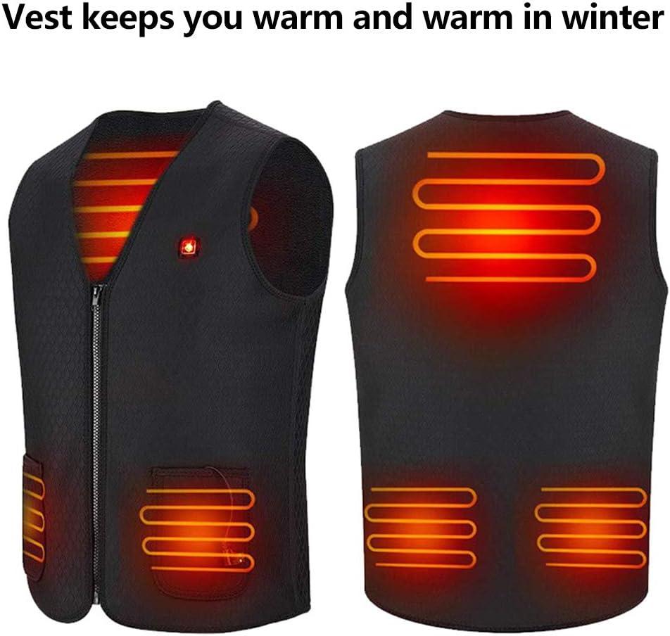 camping p/êche unisexe 3 fichiers Veste chauffante USB pour homme et femme gilet chauffant l/éger ski temp/érature r/églable pour activit/és de plein air randonn/ée