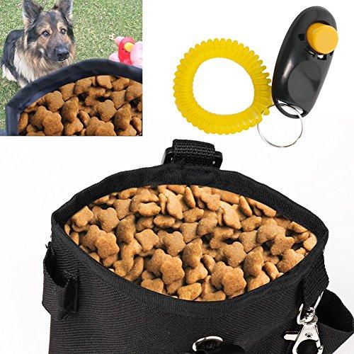 Tiaobug Hundetraining mit Klicker - Beutel Futtertasche Futterbeutel Snackbeutel Leckerlietasche für Hunde Schwarz Futterbeutel mit Schwarz Klicker One Size
