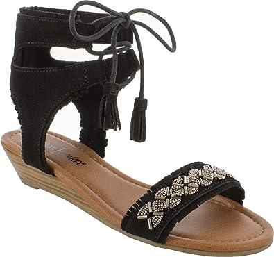 Minnetonka Women's Portofino Wedge Sandal,Black Suede,US ...