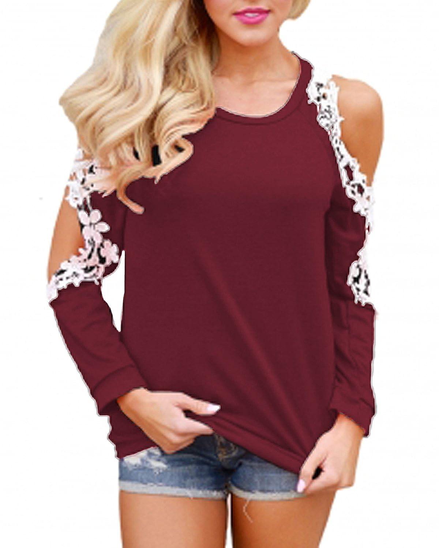 TALLA S. StyleDome Mujer Camiseta Elegante Verano Hombros Descubiertos Blusa Mangas Cortas Encaje Cuello Redondo Fiesta Noche Top