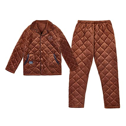 Pyjama Sets Pajamas Coral fleece couple pajamas Winter thickening plus  velvet men s warm three-layer quilted home service (Color   Yellow 6f1a478d5