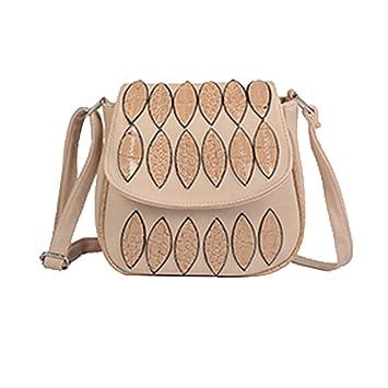 Vovotrade Lujo Hojas de la manera Historia Decorado Pequeña bolsa de la aleta Mujer Hombro Bolsa de mensajero (beige): Amazon.es: Equipaje